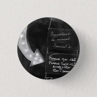 Bóton Redondo 2.54cm Sinal e seta do menu do quadro do café de Paris