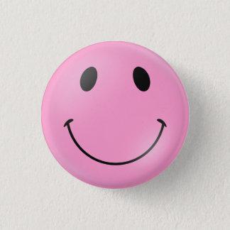 Bóton Redondo 2.54cm Smiley face cor-de-rosa