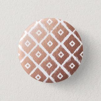 Bóton Redondo 2.54cm Teste padrão tribal cor-de-rosa da folha de ouro