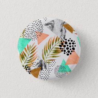 Bóton Redondo 2.54cm Teste padrão tropical geométrico abstrato da folha