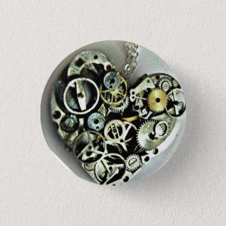 Bóton Redondo 2.54cm Um botão do coração do maquinismo de relojoaria