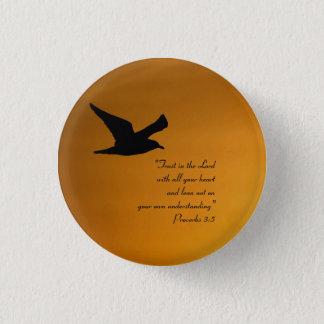 Bóton Redondo 2.54cm Verso amarelo da bíblia da fé do pássaro do céu do