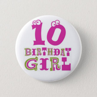 Bóton Redondo 5.08cm 10o Crachá do botão da menina do aniversário
