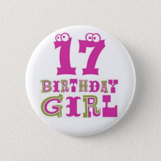 Bóton Redondo 5.08cm 17o Crachá do botão da menina do aniversário