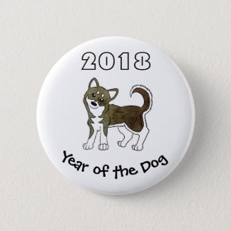 Bóton Redondo 5.08cm 2018 anos do rouco Siberian do cão