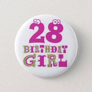 Bóton Redondo 5.08cm 28o Crachá do botão da menina do aniversário