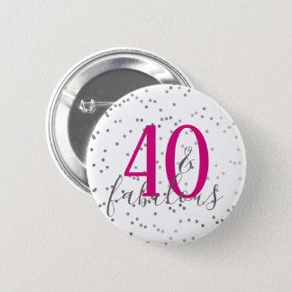Bóton Redondo 5.08cm 40 modernos e botão fabuloso dos confetes do