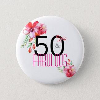 Bóton Redondo 5.08cm 50 e 50th festa de aniversário elegante fabulosa