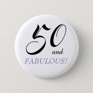 Bóton Redondo 5.08cm 50 e botão fabuloso da festa de aniversário