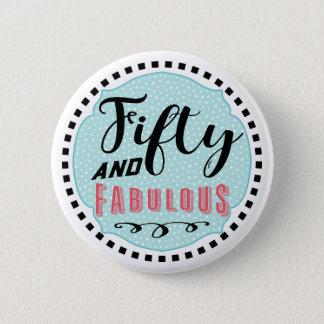 Bóton Redondo 5.08cm 50 e botão fabuloso do aniversário do divertimento