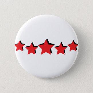 Bóton Redondo 5.08cm 5 estrelas vermelhas de luxe