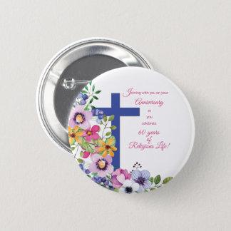 Bóton Redondo 5.08cm 60th Aniversário, freira, cruz religiosa da vida