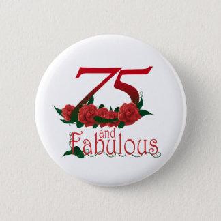 Bóton Redondo 5.08cm 75 e 75th número fabuloso do aniversário