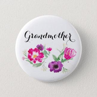 Bóton Redondo 5.08cm A aguarela da avó floresce o botão