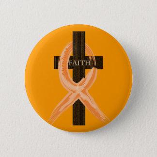 Bóton Redondo 5.08cm A cruz do sobrevivente alaranjado da leucemia da