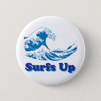 Bóton Redondo 5.08cm A grande onda de Hokusai surfa acima