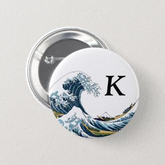 Bóton Redondo 5.08cm A grande onda fora de Kanagawa: Monograma