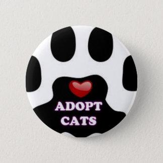 Bóton Redondo 5.08cm A pata do gato adota gatos com coração vermelho
