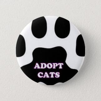 Bóton Redondo 5.08cm A pata do gato adota gatos com DIVERTIMENTO bonito