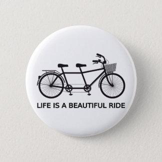 Bóton Redondo 5.08cm A vida é um passeio bonito, bicicleta em tandem
