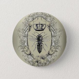 Bóton Redondo 5.08cm abelha de rainha chique da coroa do victorian do