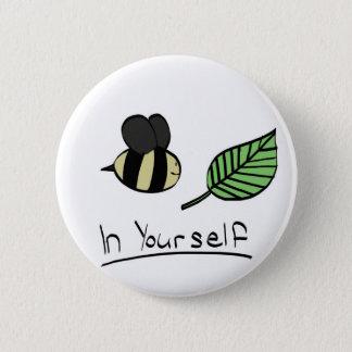 Bóton Redondo 5.08cm Abelha-folha em o senhor mesmo botão (algum