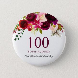 Bóton Redondo 5.08cm Alguma festa de aniversário floral de Borgonha