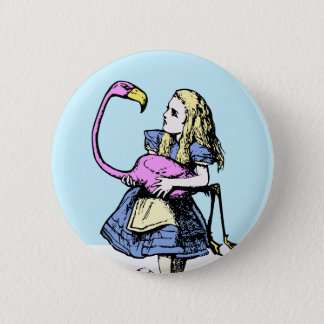 Bóton Redondo 5.08cm Alice clássica no flamingo do botão #2 do país das