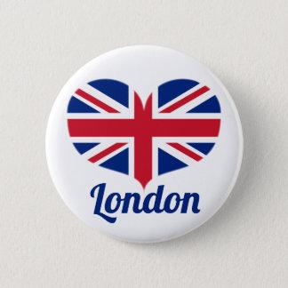 Bóton Redondo 5.08cm Ame a bandeira BRITÂNICA dada forma coração/Union
