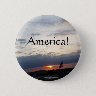 Bóton Redondo 5.08cm América! - Foto da bandeira americana, SC de