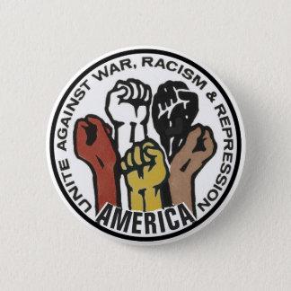 Bóton Redondo 5.08cm América une-se contra a guerra, racismo
