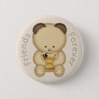 Bóton Redondo 5.08cm Amigos do urso e da abelha de mel para sempre