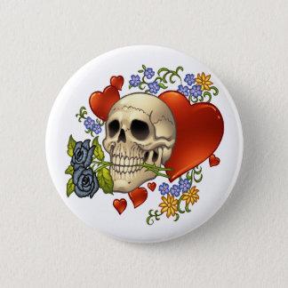 Bóton Redondo 5.08cm Amor do crânio - crânios, rosas e corações pelo Al