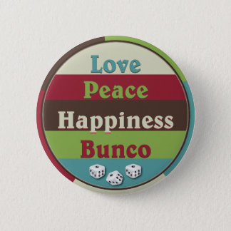Bóton Redondo 5.08cm Amor, paz, botão de Bunco da felicidade