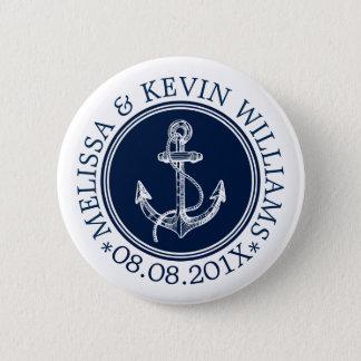 Bóton Redondo 5.08cm Âncora náutica branca do barco do círculo azul