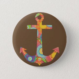 Bóton Redondo 5.08cm Ancore o padrão de Brown, botão redondo da