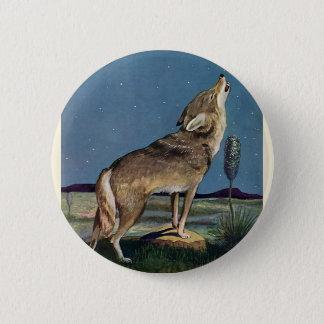 Bóton Redondo 5.08cm Animal selvagem do vintage, lobo que urra na lua