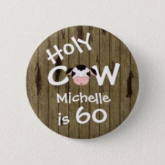 Bóton Redondo 5.08cm Aniversário cómico personalizado da vaca 60th