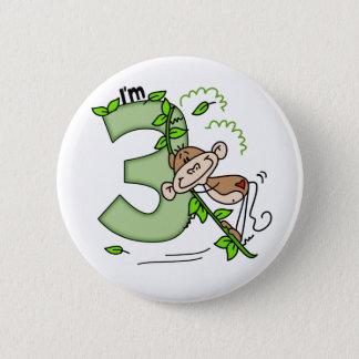 Bóton Redondo 5.08cm Aniversário de 3 anos do balanço do macaco da vara