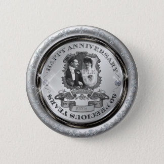 Bóton Redondo 5.08cm Aniversário ID195 do vintage 60th