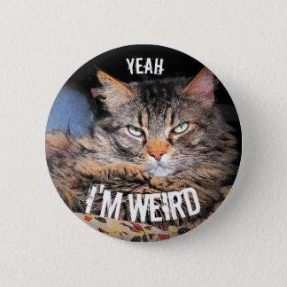 Bóton Redondo 5.08cm Anjo mal-humorado, yeah eu sou gato estranho Meme