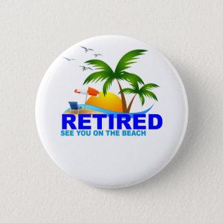 Bóton Redondo 5.08cm Aposentado veja-o no t-shirt da praia.