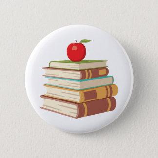 Bóton Redondo 5.08cm Apple & livros vermelhos