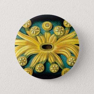 Bóton Redondo 5.08cm arte amarela da explosão da flor