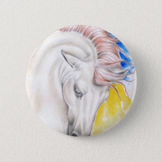 Bóton Redondo 5.08cm Arte da aguarela do cavalo