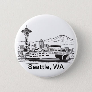 Bóton Redondo 5.08cm Arte de fronteira estadual de Washington da balsa