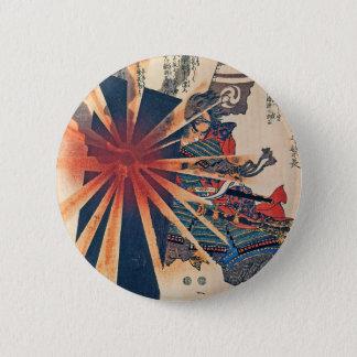 Bóton Redondo 5.08cm Arte japonesa legal de Sun empolando do guerreiro