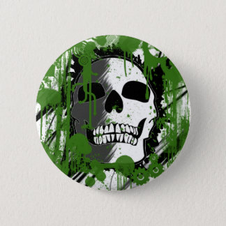 Bóton Redondo 5.08cm arte verde dos grafites da cabeça do crânio