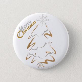 Bóton Redondo 5.08cm Árvore de Natal do ouro & da prata