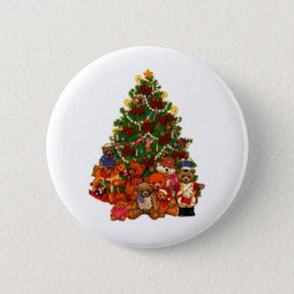 Bóton Redondo 5.08cm Árvore de Natal e ursos de ursinho